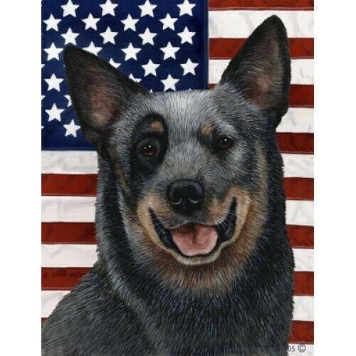 Patriotic (D2) House Flag - Blue Australian Cattle Dog 32072