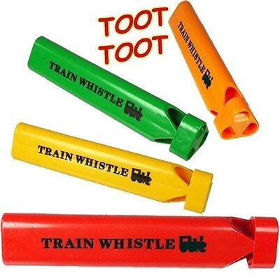 Toy Train Whistle Plastic Steam Locomotive Whistles (WHOLESALE BULK LOT OF 48X) - Plastic Whistles Bulk