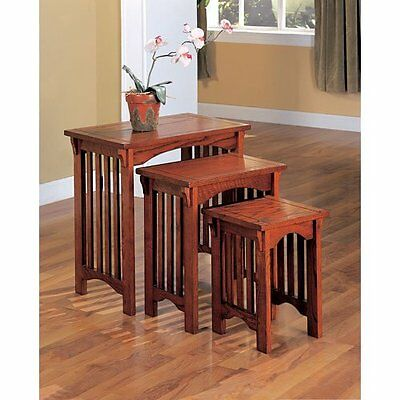 Nesting End Tables Set 3 Pc Mission Style Side Oak Finish Coffee Table Furniture for sale  Vancouver