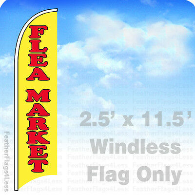 Flea Market - Windless Swooper Flag Feather Banner Sign 2.5x11.5 - Yb