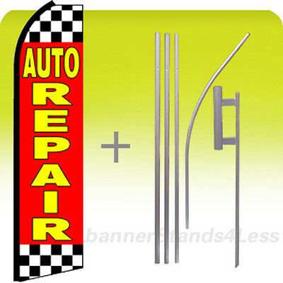 Auto Repair Swooper Flag Kit Feather Flutter Banner Sign 15 Tall - Checkered Rz