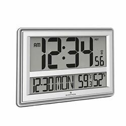 Marathon Jumbo Atomic Wall Clock with Large Display, Date, Indoor Temperature ..