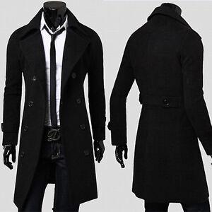 100% NEW Men's Stylish Trench Coat Winter Long Jacket Double Breasted Overcoats