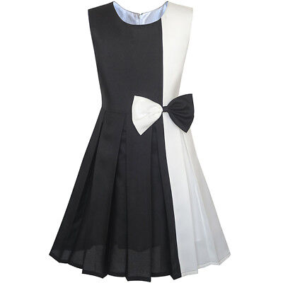 US Seller Girls Dress Color Block Contrast White Black Bow Tie Size 4-14](Black Girl Dresses)