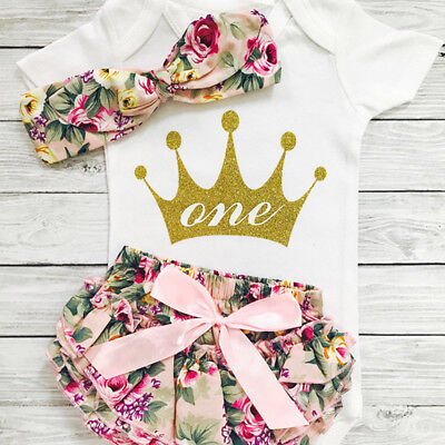 1st Birthday Outfits for Baby Girl Crown Tops Romper+Shorts Pants Clothes Set US](First Birthday)