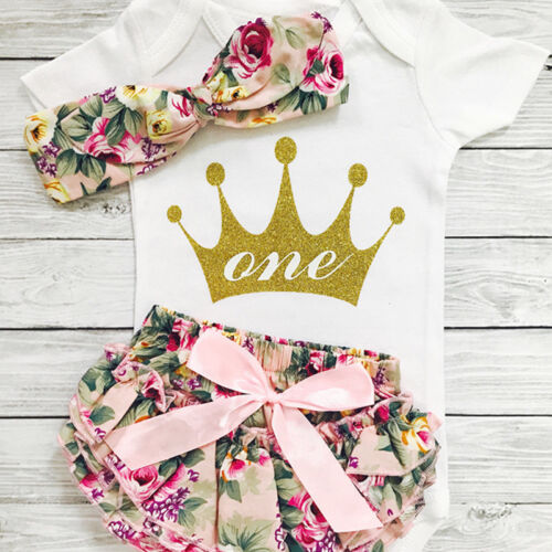 US Baby Girls 1st Birthday Outfits Clothes Romper+Shorts Pan
