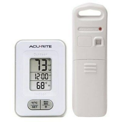 NEW AcuRite Wireless Indoor/Outdoor Thermometer with Clock**FAST FREE SHIPPING**