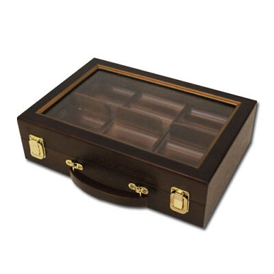 300 Count Walnut Wooden Poker Chips Set Storage Case with See Through Lid New