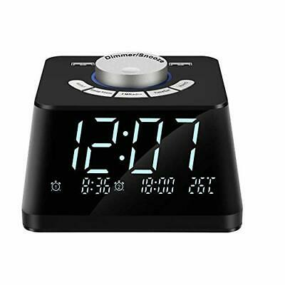 NEW Digital Alarm Clock with FM Radio 4.7 Inch LED Display Dual USB Charge Port