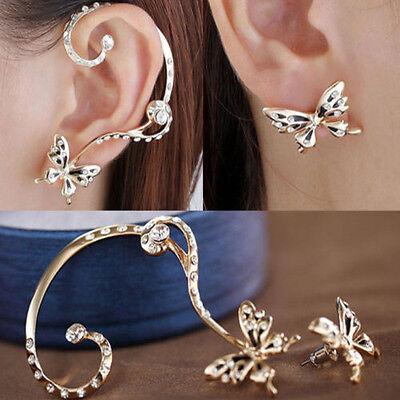 1 Pair Fashion Women Butterfly Ear Cuff Crystal Rhinestone Gold Plated Earrings