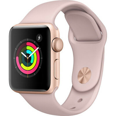 New Apple Watch Series 3 38Mm Rose Gold Aluminum Case Pink Sand Sport Band Gps