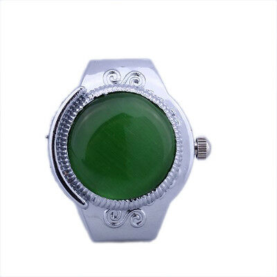 Women Alloy Quartz Green Cats Eye Round Dial Pocket Finger Ring Watch C8N8 13HE