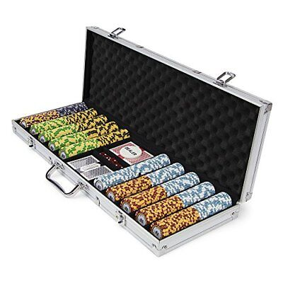 500ct. Monte Carlo 14g Poker Chip Set in Aluminum Metal Carry Case