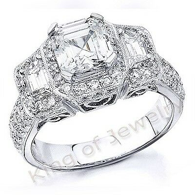 6.35 Ct Asscher Cut,Trapezoid & Round Diamond Engagement Ring GIA I,VS1 Platinum