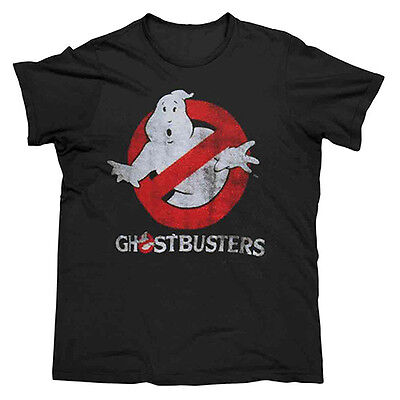 GHOSTBUSTERS LOGO Men's Tee T-Shirt BLACK LOGO Man Cave Fathers Day Birthday