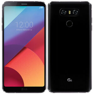 LG G6 Black with screen protector and cable