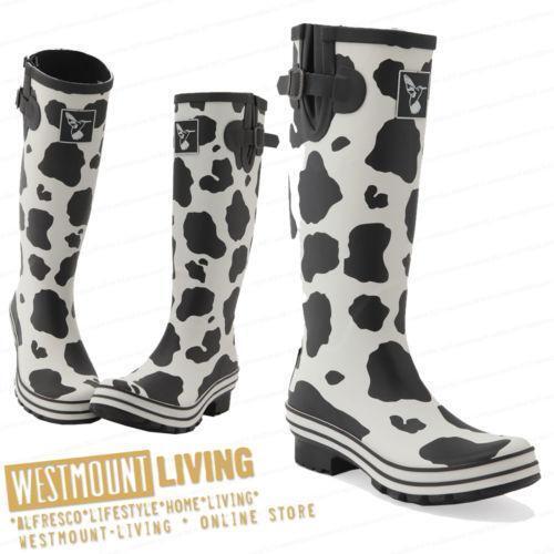 Cow Print Wellies Women S Shoes Ebay