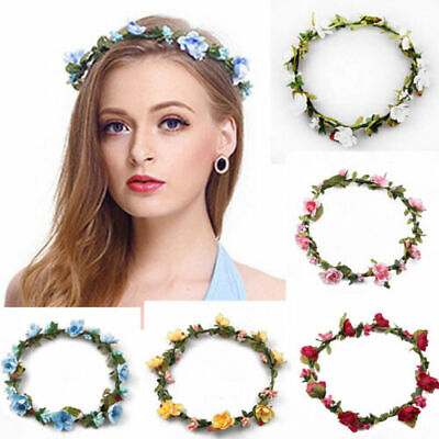 Womens Boho Flower Floral Hairband Headband Crown Party Bride Wedding Beach - Crown Headband