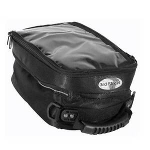 3rd Street Magnetic Motorcycle Tank Bag NEW Third Pouch Black Nylon Dust Cover