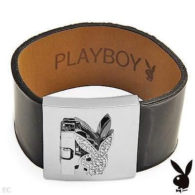 NEW Playboy Bracelet Bunny Swarovski Crystal Silver Plated Black Leather Cuff