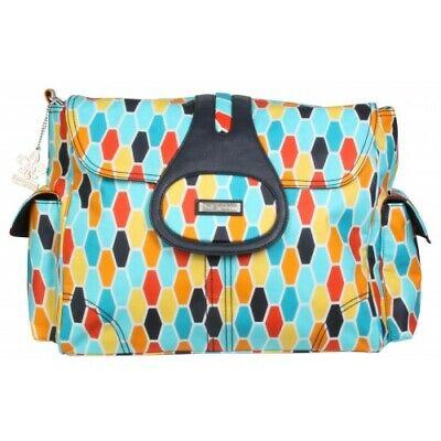 Kalencom Elite  Baby Changing Bag - Honeycomb Orange & Blue Retro RRP £59.99