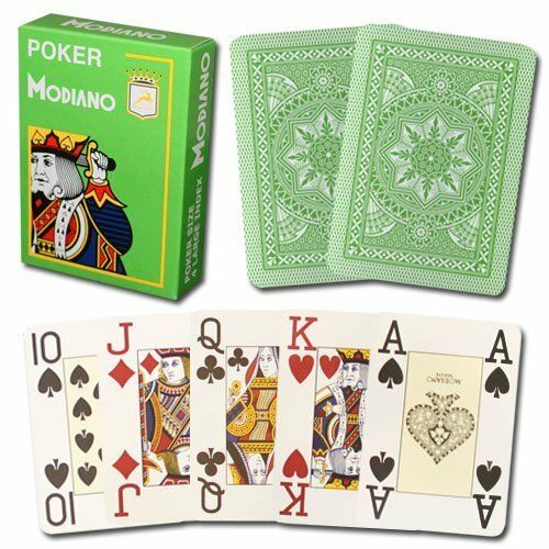 Modiano Cristallo Plastic Playing Cards, 4 PIP Jumbo Index, Light Green