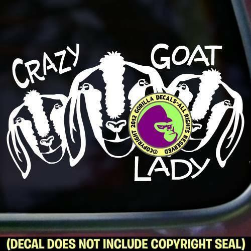 CRAZY GOAT LADY Vinyl Decal Sticker Love Goats Farm Breed Rescue Sign Car Window