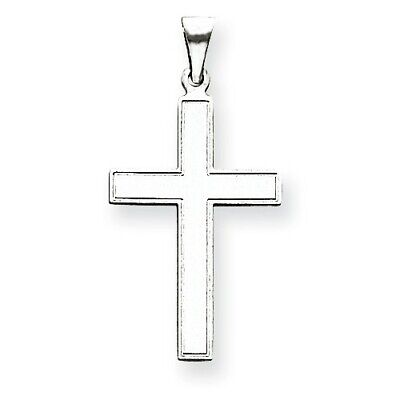 14k White Gold Solid Plain Latin Cross Charm Pendant   1.42 Inch 14k White Gold Cross Charm
