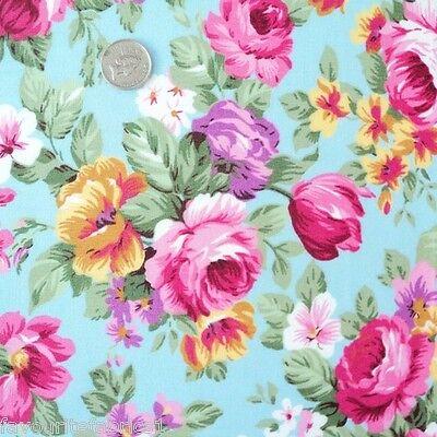 Pollyanna Blue Floral Cotton Fabric Per M Shabby Vintage