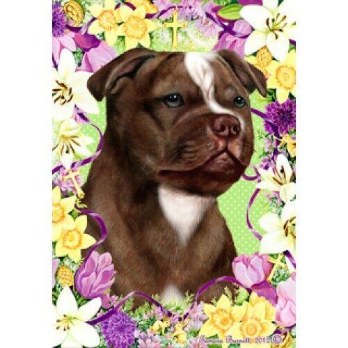 Easter House Flag - Chocolate Staffordshire Bull Terrier 33244