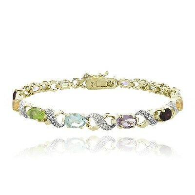 - 18K Gold Plated 6ct Multi Color Gemstone & Diamond Accent Infinity Links Bracele