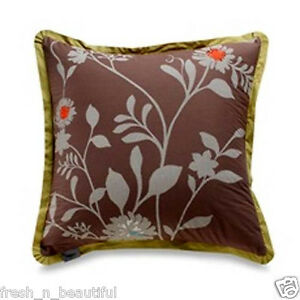 Daintree-Embroidered-Floral-Taupe-Green-Decorative-Euro-Sham-26-x-26-NIP