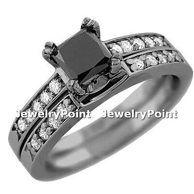 1 65Ct Black Diamond Engagement   Wedding Ring Set 14K Black Gold Princess Cut
