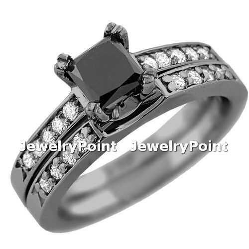 1.65ct Black Diamond Engagement & Wedding Ring Set 14k Black Gold Princess Cut