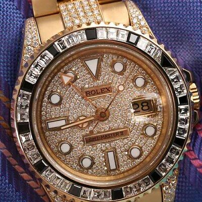Rolex 40mm GMT Master II 18k Yellow Gold Men's Watch with Diamonds 16718