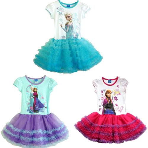 Girls-Disney-Frozen-Princess-ELSA-ANNA-Cake-Tutu-Dress-Skirt-Party-Costume-2-7Y