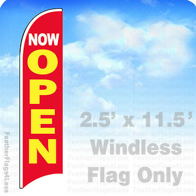 Now Open - Windless Swooper Flag Feather 2.5x11.5 Banner Sign - Rb