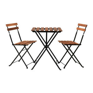 Table+2 chairs, outdoor, black acacia, steel gray-brown stained