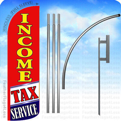 Income Tax Service - Windless Swooper Flag 15 Kit Feather Banner Sign Rq