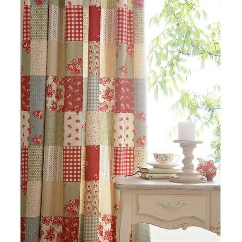 Red Curtains beige red curtains : Patchwork Curtains | eBay