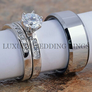 3PCSWomensWeddingRingsSetTungstenRingMensWeddingBandBridal