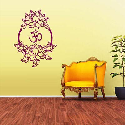Wall Decal Bedroom Sticker Decals Om Symbol Ganesh Flowers Hindu Z1657 for sale  Virginia Beach