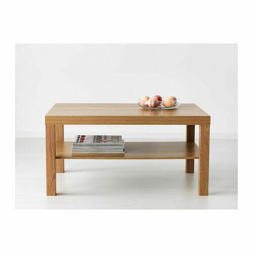Oak Coffee Table Living Room Furniture Modern Design With Shelf Brand New