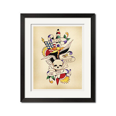 LIVE FREE or DIE Old School Tattoo Flash Art Poster Print