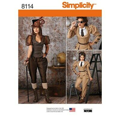 SIMPLICITY PATTERN 8114 STEAMPUNK COSTUMES/COSPLAY MISSES SIZES 6 - 14 UNCUT NEW