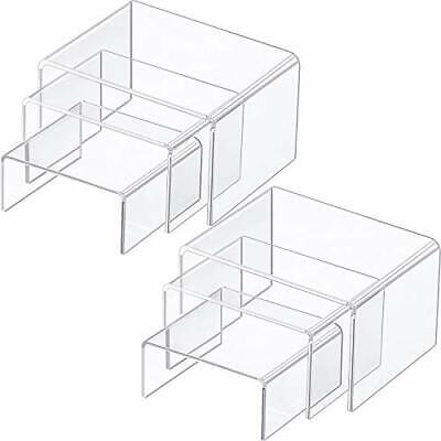2 Sets Clear Acrylic Display Risers Jewelry Display Shelf Showcase Fixtures 6pcs