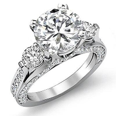 3.22 Ct Round Brilliant Cut Real Diamond Engagement Ring 14KWG F, SI1 GIA