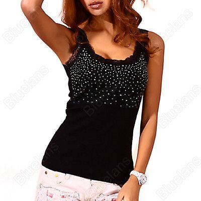Womens Rhinestone Beaded Lace Stunning Vest Sexy Tank Top T-shirt Blouse B52U