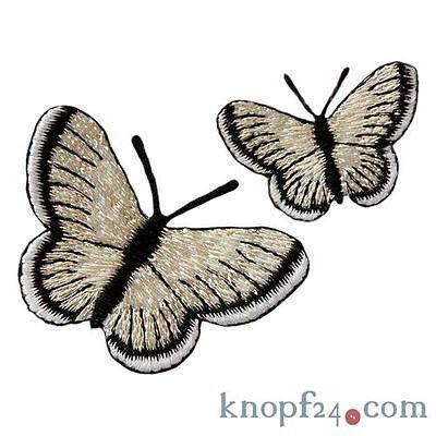 Applikation zum Aufbügeln 2 Schmetterling silber/schwarz (#76569)
