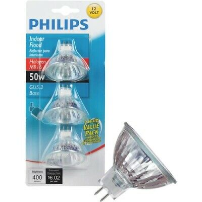 Philips 60W Equivalent Clear GU5.3 Base MR16 Halogen Floodlight Light Bulb (3-Pa